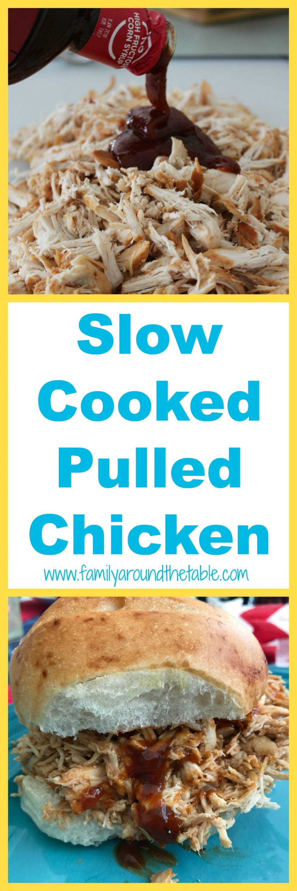 Use slow cooked pulled chicken for bbq sandwiches, tacos, fajitas, quesadillas or chicken salad.