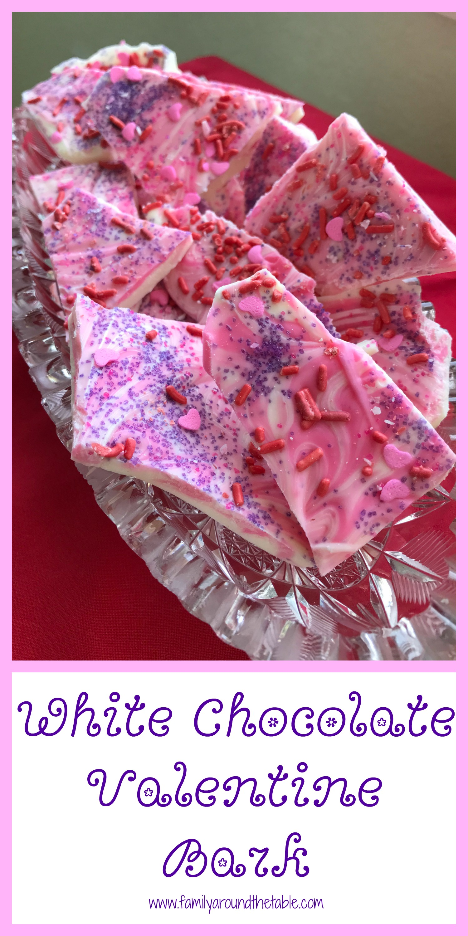 White chocolate valentine bark is a festive treat.