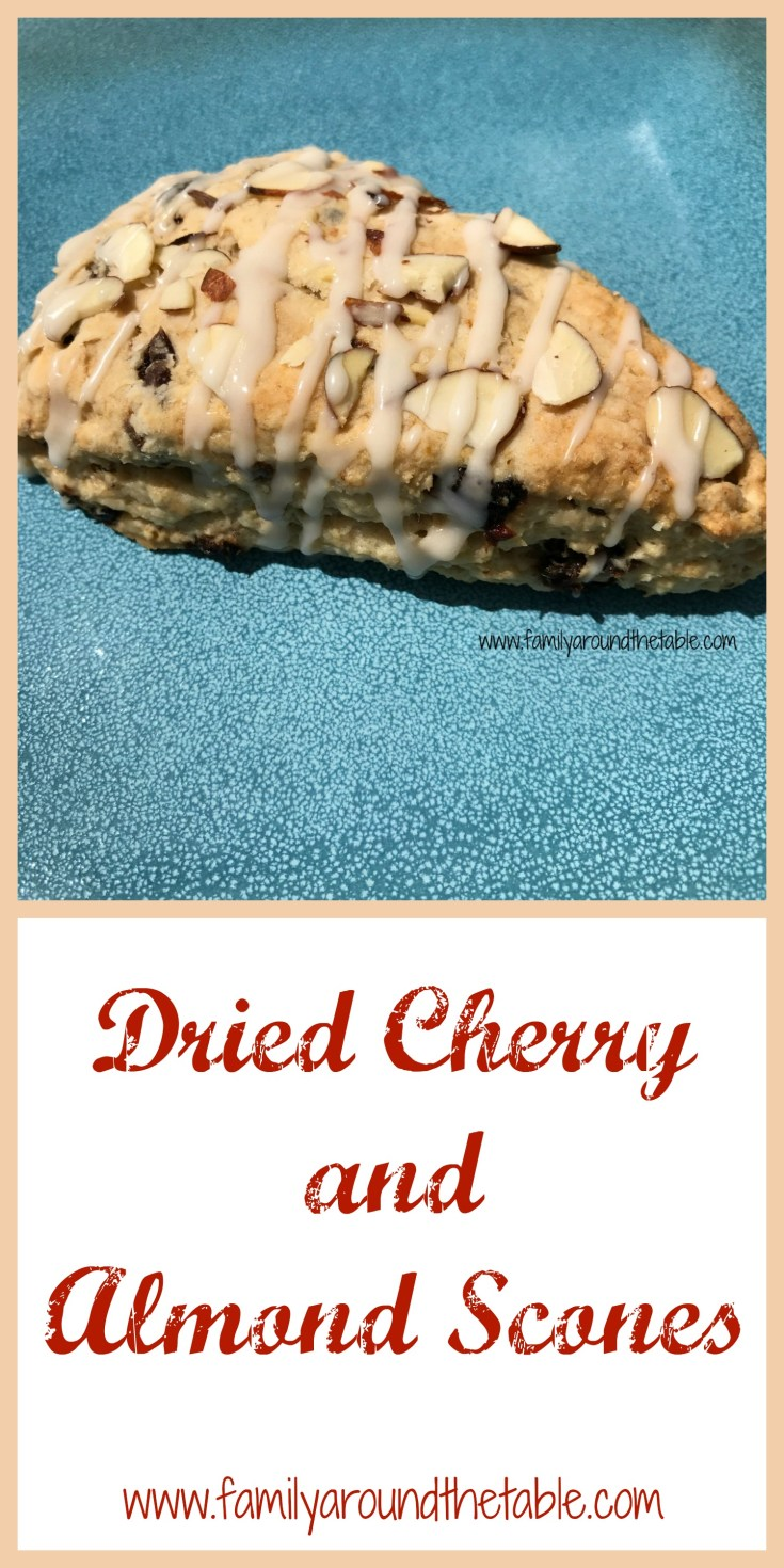 Dried cherry and almond scones are a delicious addition to a brunch table.