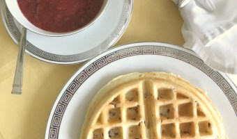 Pecan Belgian Waffles with Strawberry Sauce