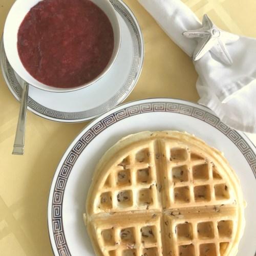 Pecan Belgian Waffles with Strawberry Sauce