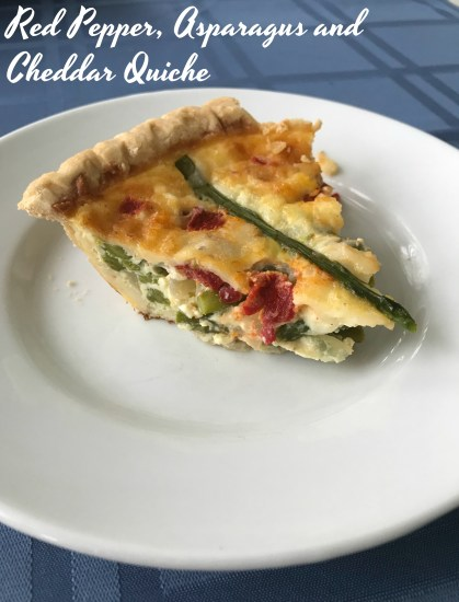 Red pepper, asparagus and cheddar quiche is perfect for brunch, a weeknight meal or weekend lunch.