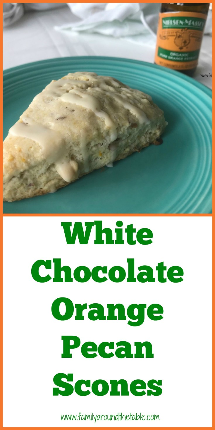 White chocolate orange pecan scones with orange glaze are a true breakfast treat.