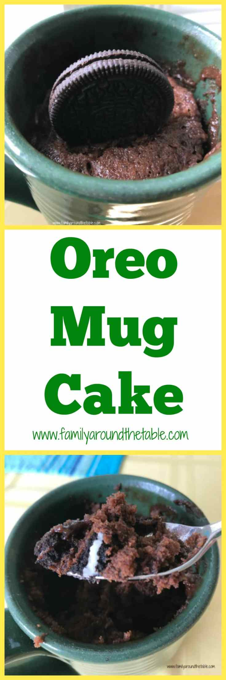 Oreo mug cake when you need a little something sweet. Perfect for after school or after dinner.