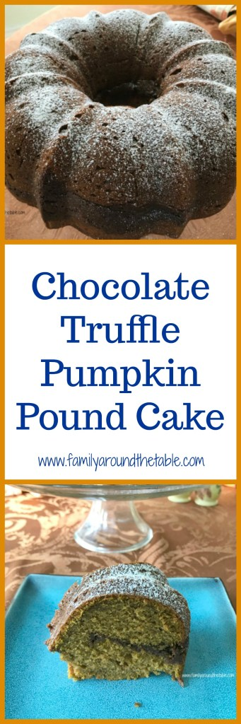 A ribbon of chocolate in this pumpkin pound cake makes for a decadent dessert. #PumpkinWeek