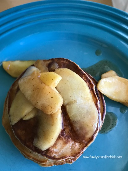 Apple cider pancakes with warm apple topping.