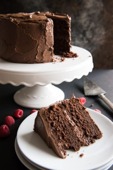 Devil's food chocolate cake with chocolate buttercream frosting from House of Nash Eats.
