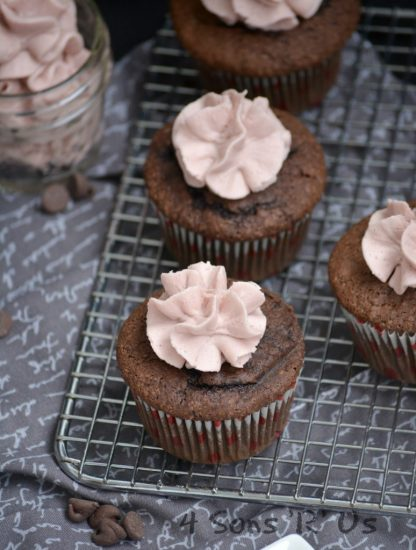 Dark Chocolate Cupcakes with Red Wine Frosting