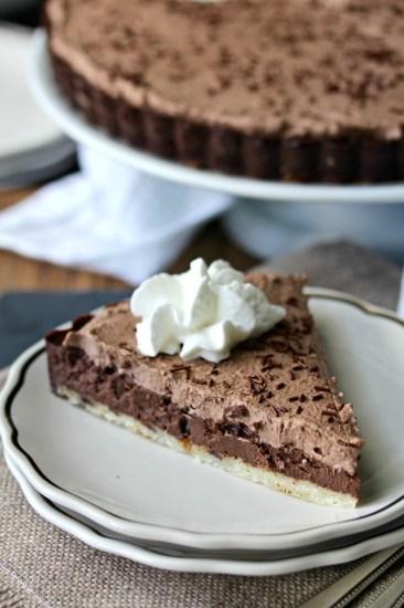 Chocolate tart with shortbread crust from Karen's Kitchen stories.