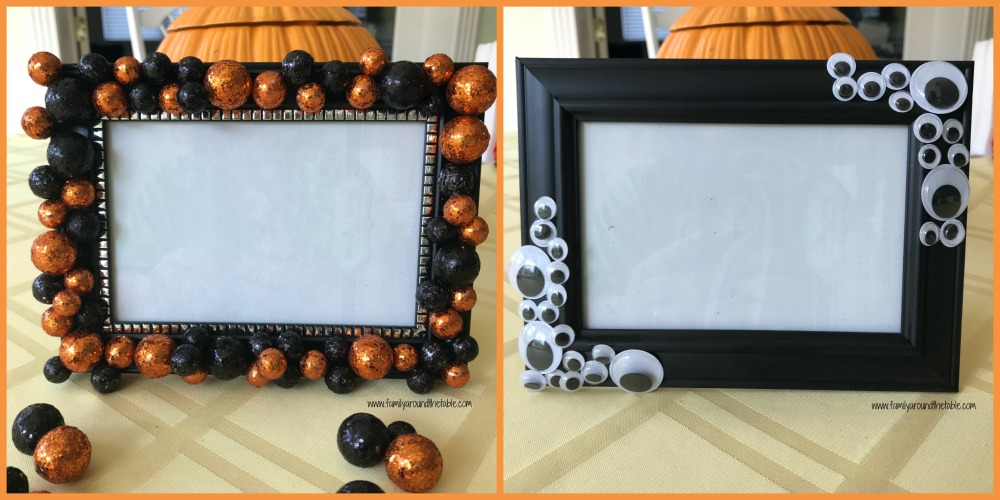 Make your own cute Halloween frames with items from Dollar Tree.