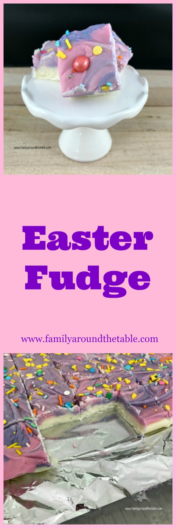 Easter fudge is a festive treat. Wrap for Easter baskets or as a favor for guests.