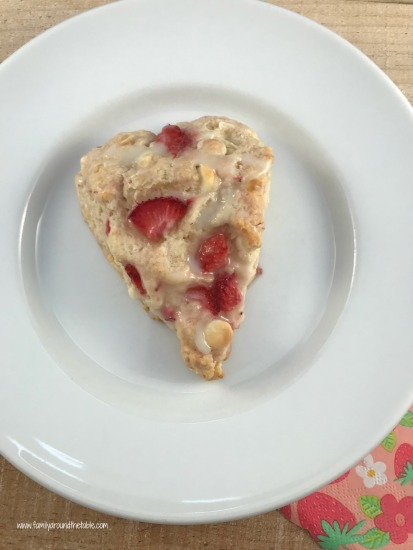 White Chocolate, Strawberry, and Champagne Scones with Champagne Glaze  #SpringSweetsWeek