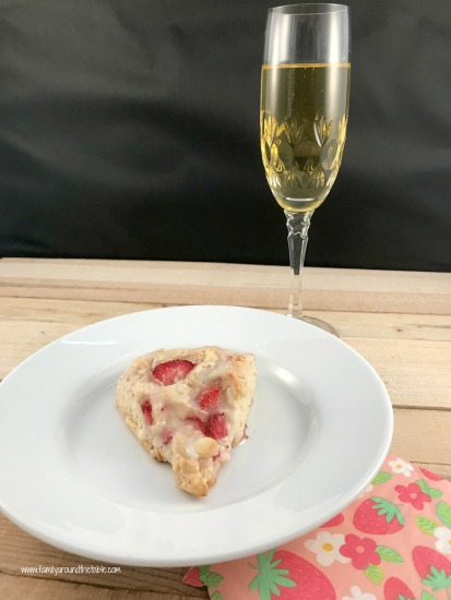 White chocolate, strawberry and champagne scones with champagne glaze are perfect for a spring brunch.