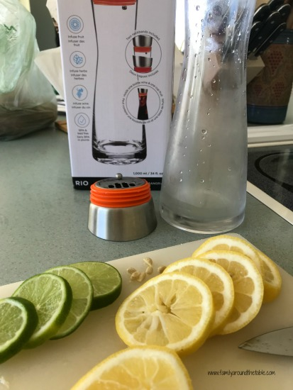 Lemon and lime slices for spa water.