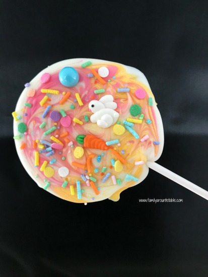 White chocolate spring candy pops are a festive treat to welcome the season.
