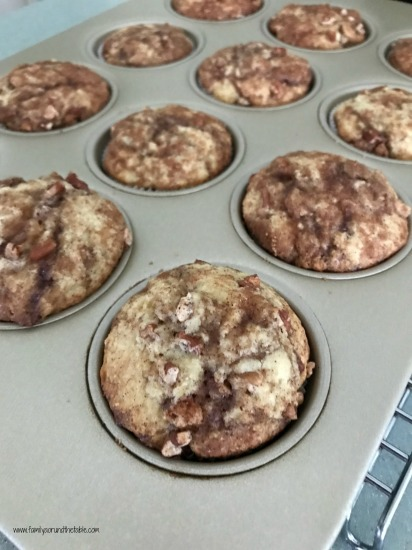 Warm coffee cake muffins fresh from the oven.