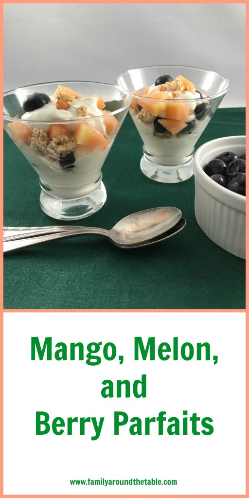 Parfait made with Torani Mango, Greek yogurt, blueberries, cantaloupe and granola.