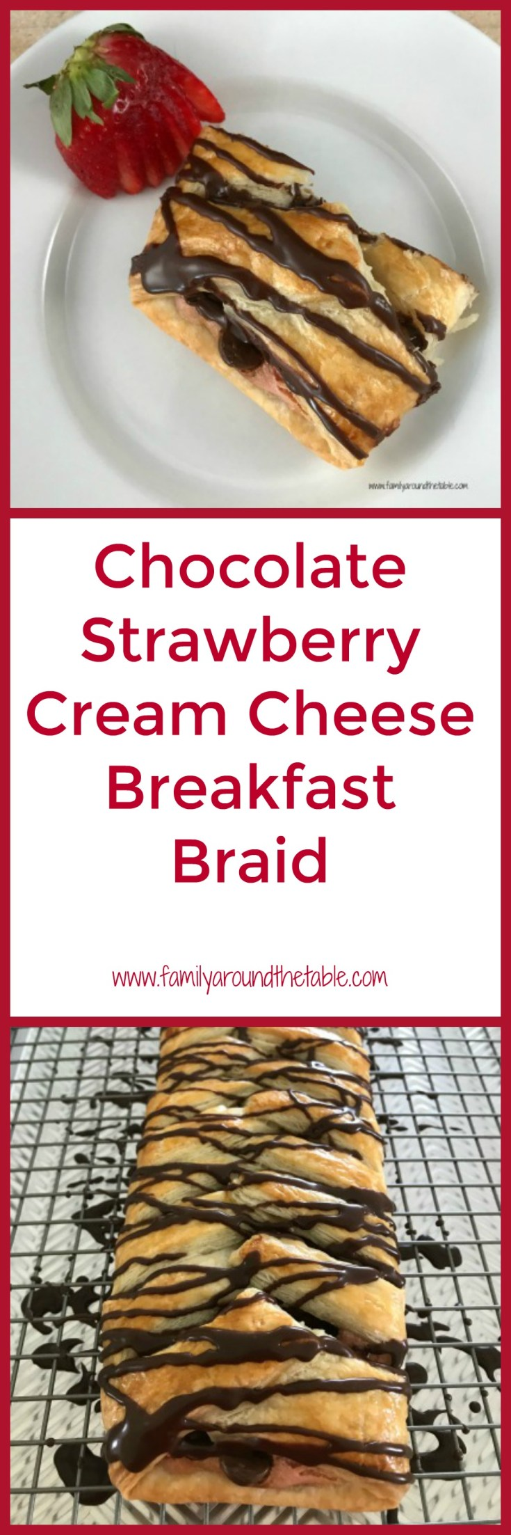 Chocolate Strawberry Cream Cheese Breakfast Braid is an easy yet impressive brunch treat. Use fresh strawberries in the cream cheese. Your guests are sure to enjoy every delectable bite.