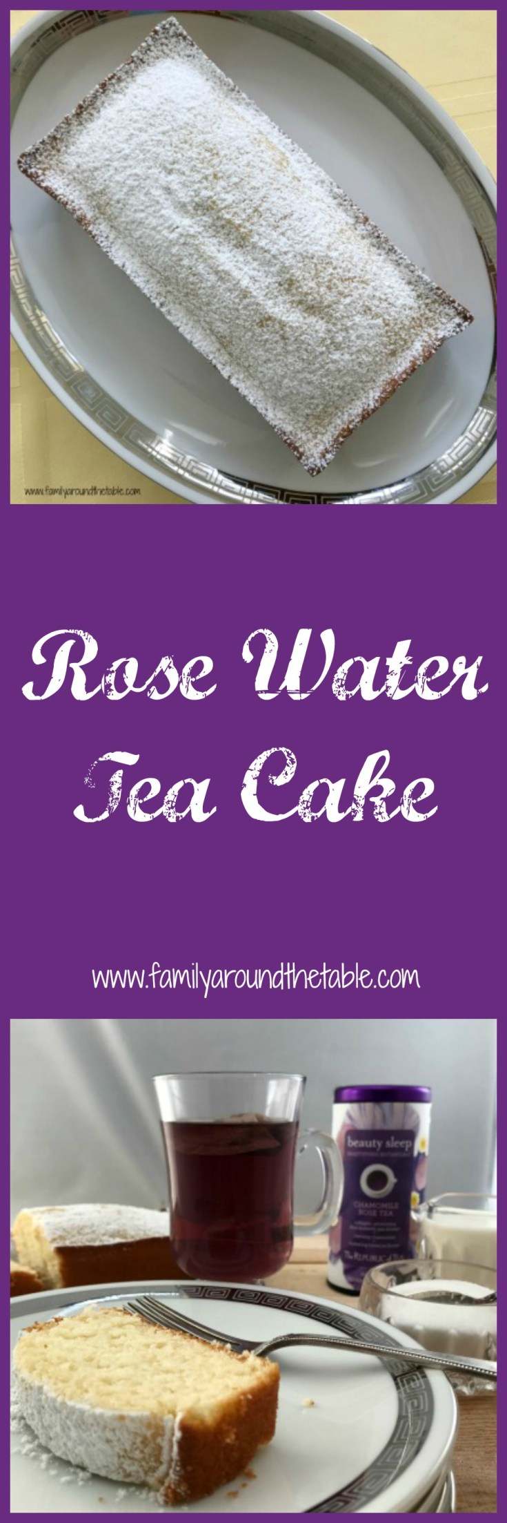Rose water tea cake with a steaming cup of The Republic of Tea chamomile rose tea. #sipbysip #ad