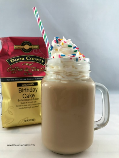 Iced birthday cake latte is perfect for those warm summer days.