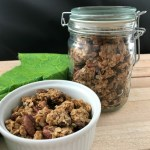 Chocolate chip maple pecan granola is delicious for snacking, with milk or to top a parfait.