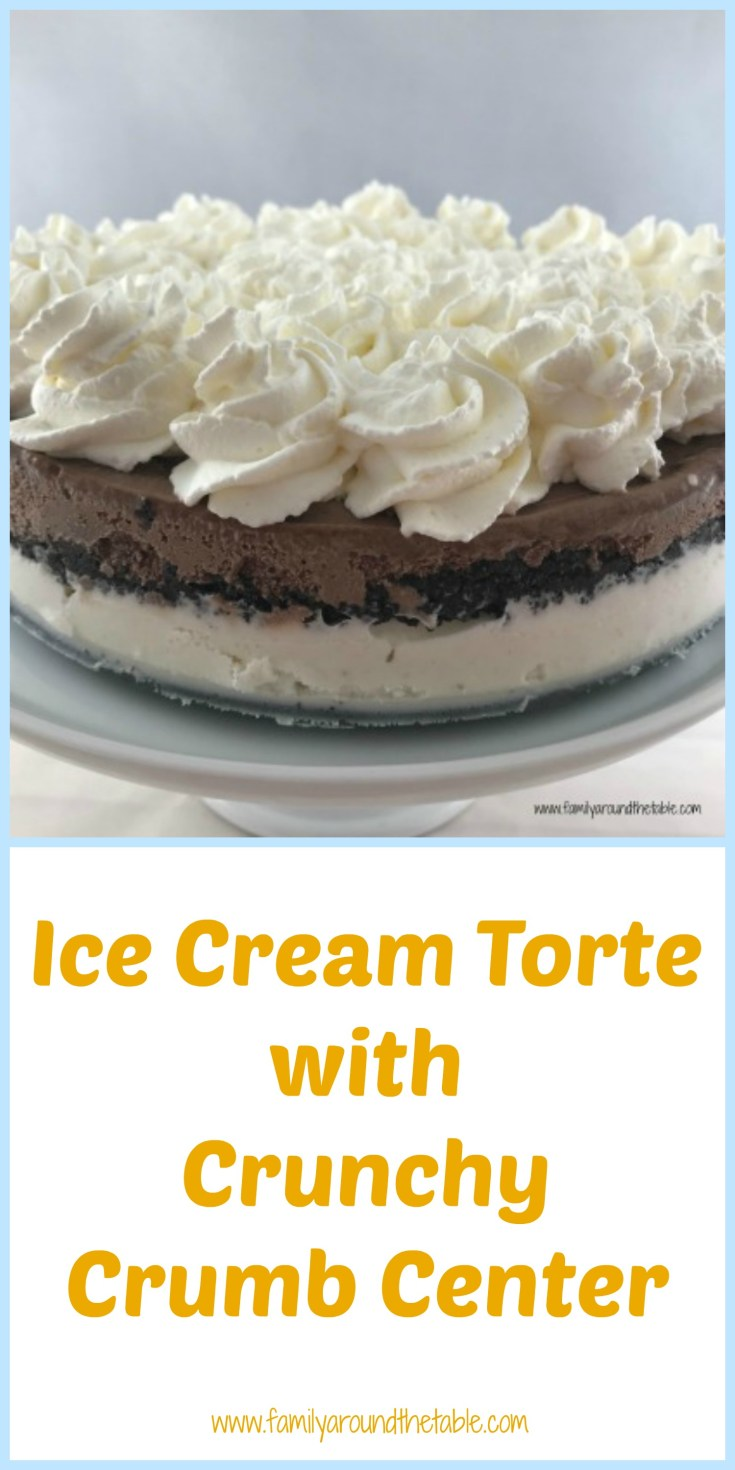 Ice cream torte with crunch crumb center is no-bake and perfect for summer.