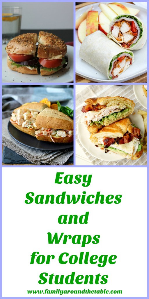 A collection of easy sandwiches and wraps for college students who have cooking facilities.