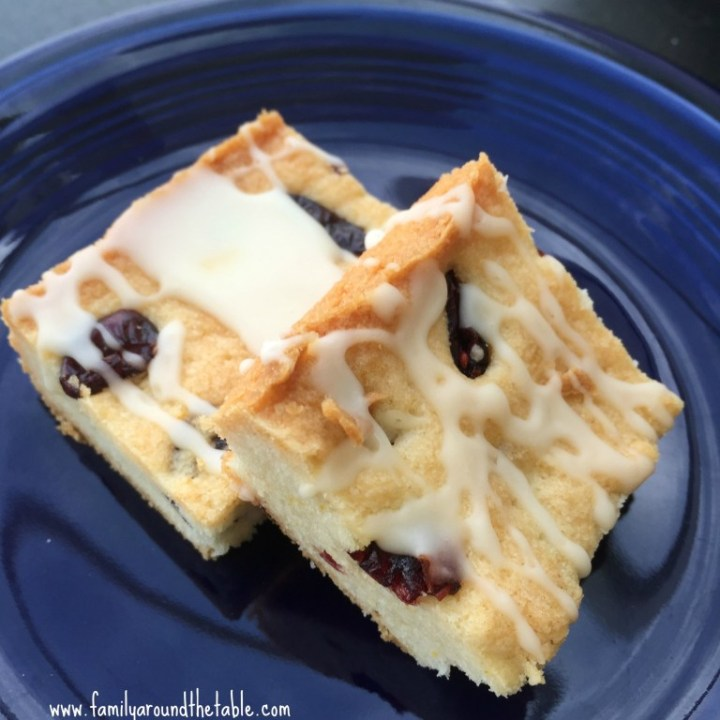 Cranberry Orange Shortbread Bars with Orange Glaze