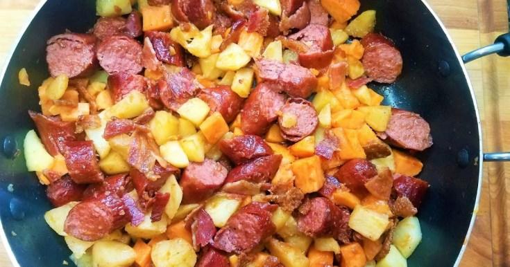 Kielbasa, Apple, Bacon, Sweet Potato Skillet Meal