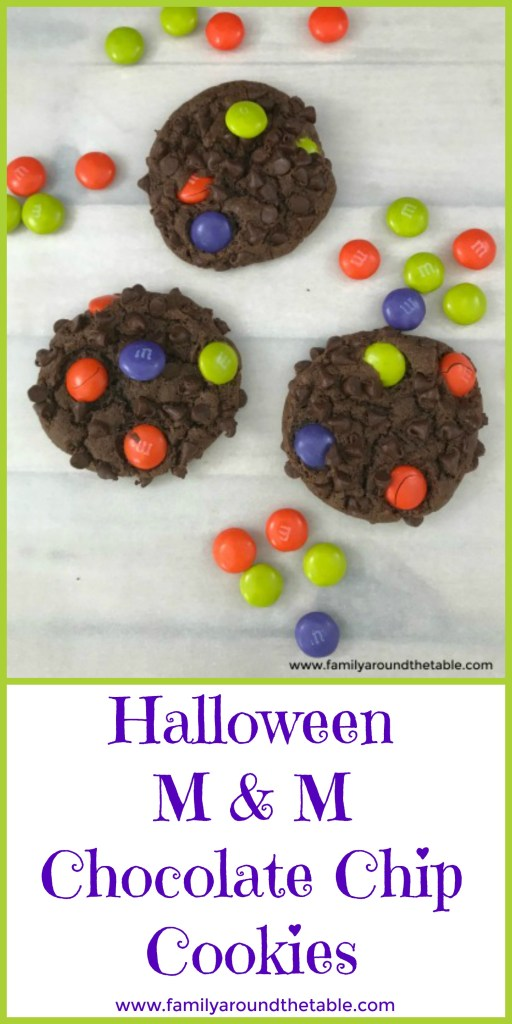 M & M Chocolate Chip Cookies are crisp on the outside but chewy on the inside.