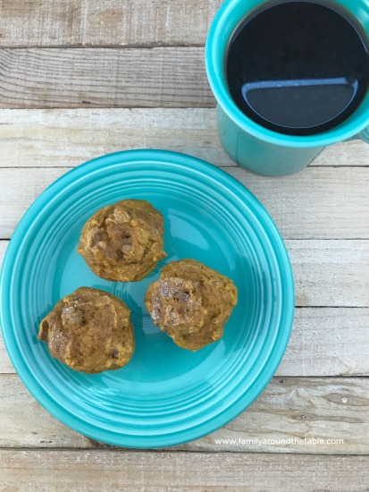 Praline pumpkin spice mini muffins are a great grab and go breakfast.