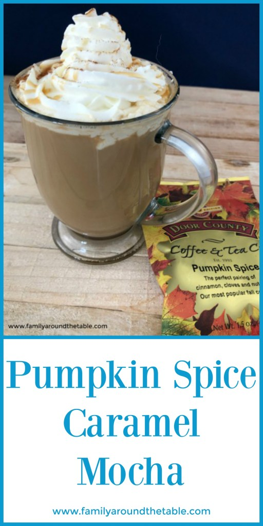 Make coffee house drinks at home. Pumpkin Spice Caramel Mocha is easy, delicious and saves money! #FallFlavors #ad