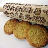 Wooden embossing rolling pin with Star Wars pattern