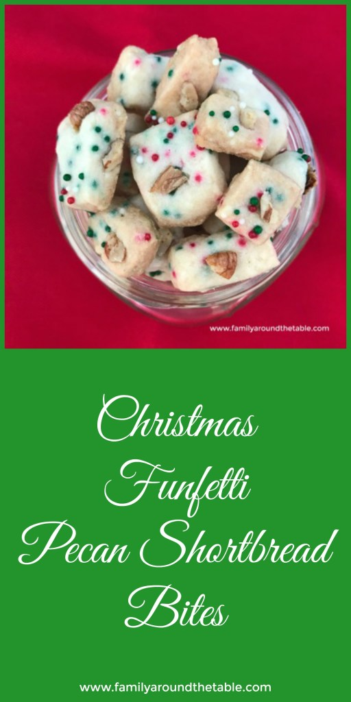 Share Christmas funfetti pecan shortbread bites in a fun mason jar. A great gift idea. #ChristmasCookies