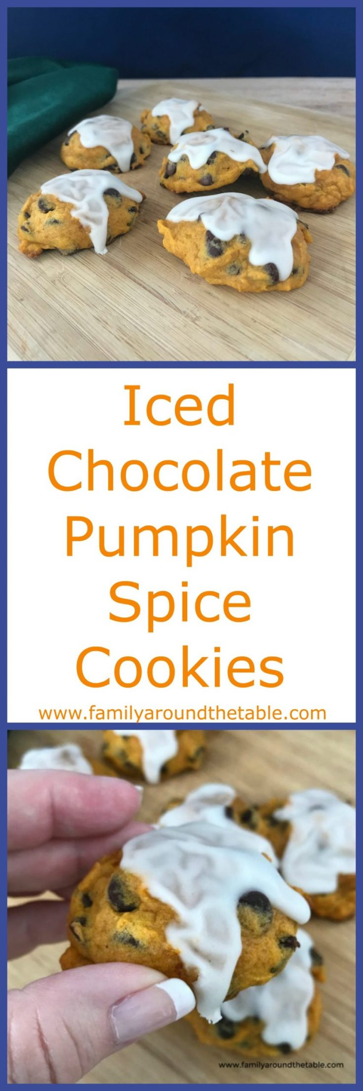 Iced chocolate pumpkin spice cookies are cake-like cookie that's not too sweet. #ChristmasCookies
