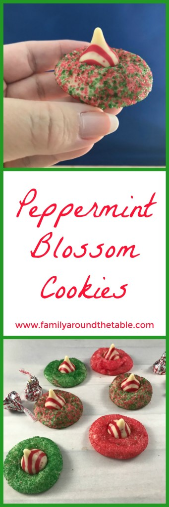 Peppermint blossom cookies are a festive addition to your holiday cookie tray. #christmascookies