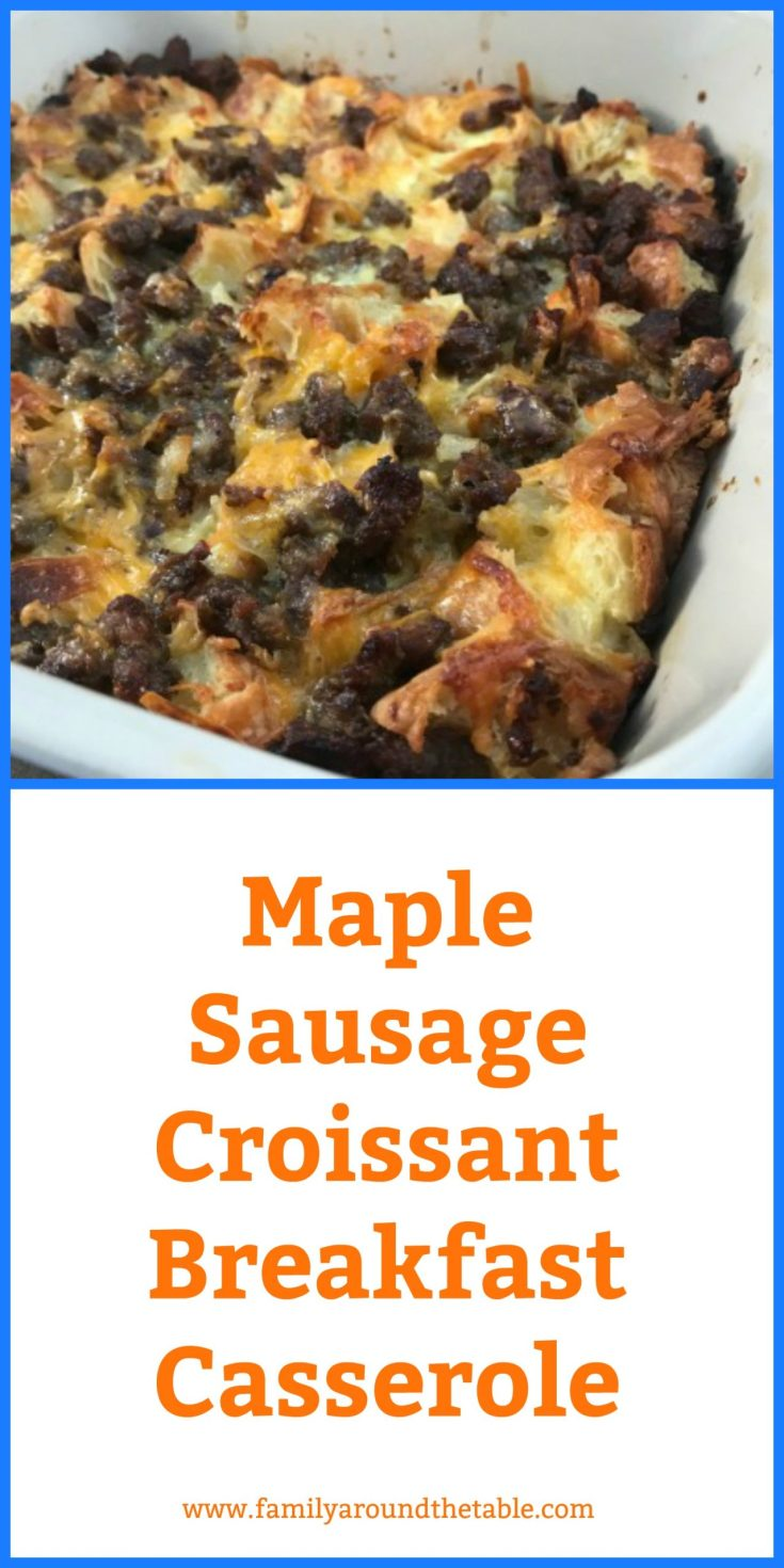 Maple Sausage Croissant Casserole is a delicious way to wake up any morning. #ad #12DaysofChristmasIdeas