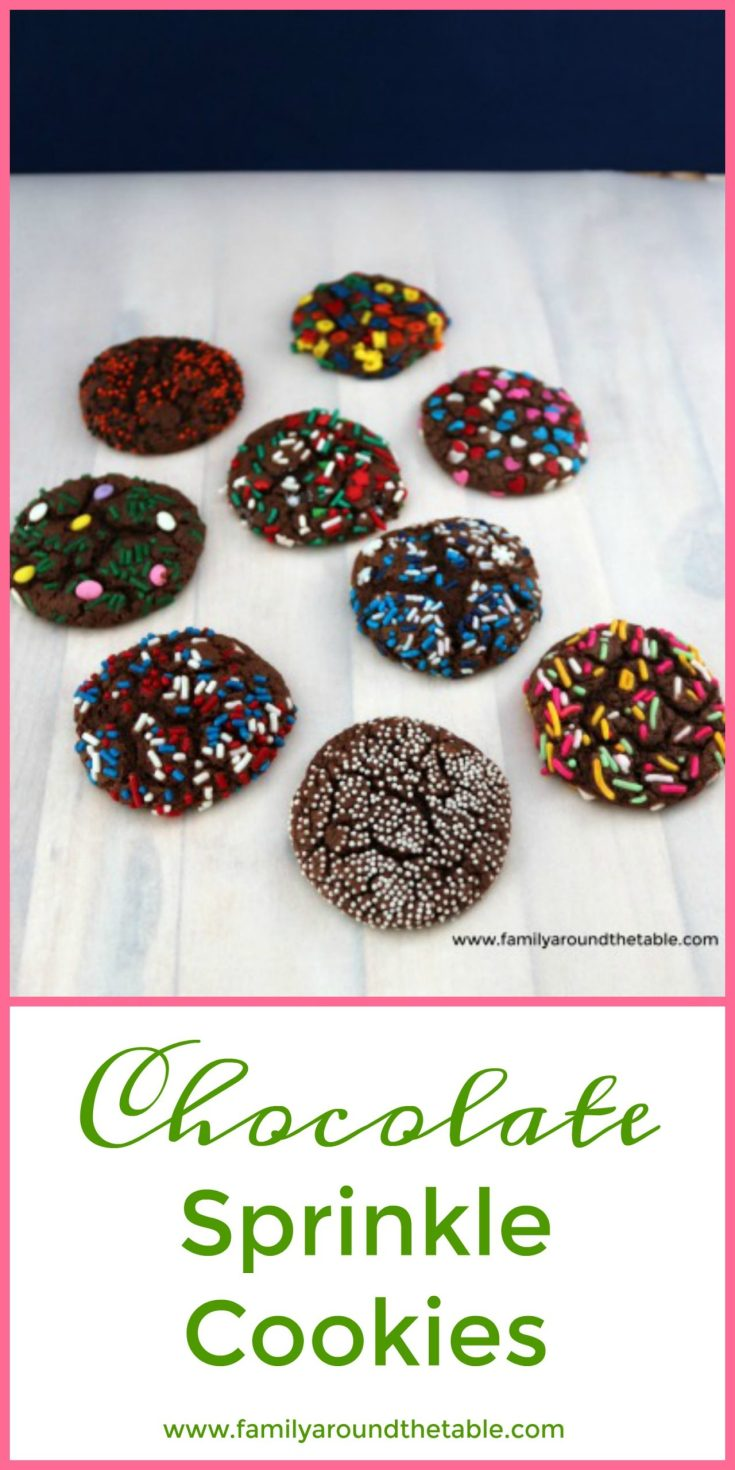 Chocolate Sprinkle Cookies start with a cake mix then use whatever sprinkles you fancy or have on hand to make them festive. Perfect for all occasions.