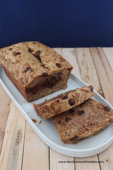 One bowl chocolate chip zucchini bread can be enjoyed by the entire family.
