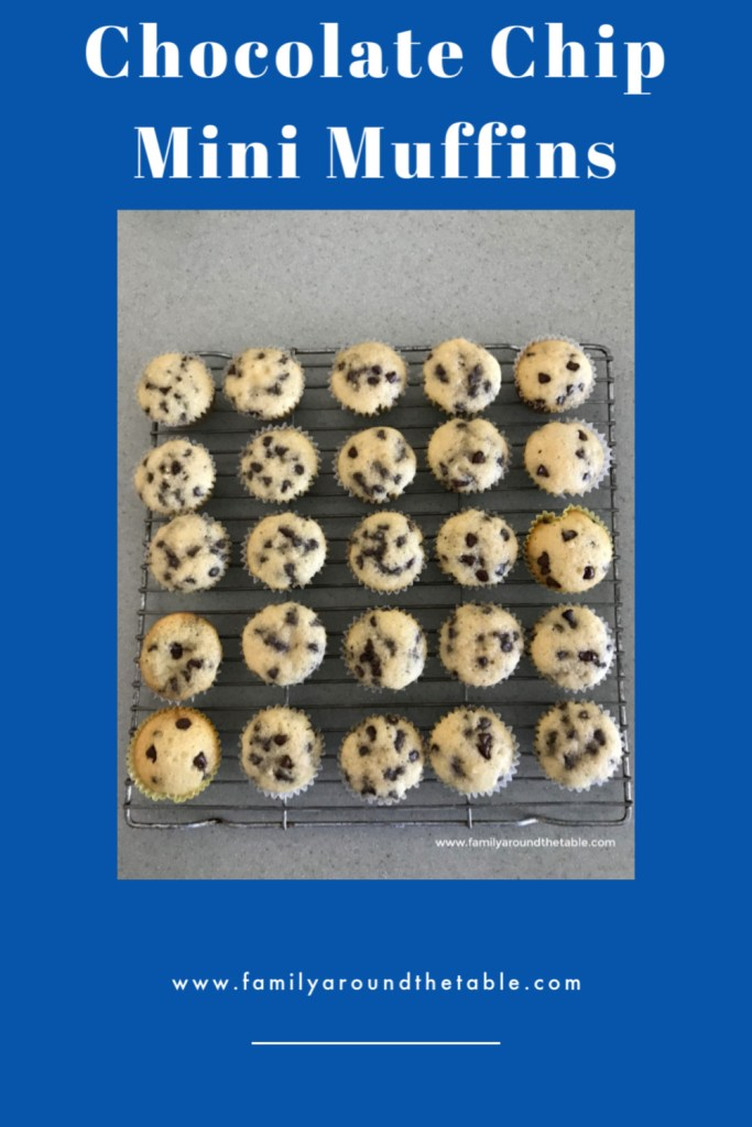 Chocolate chip mini muffins pin image.