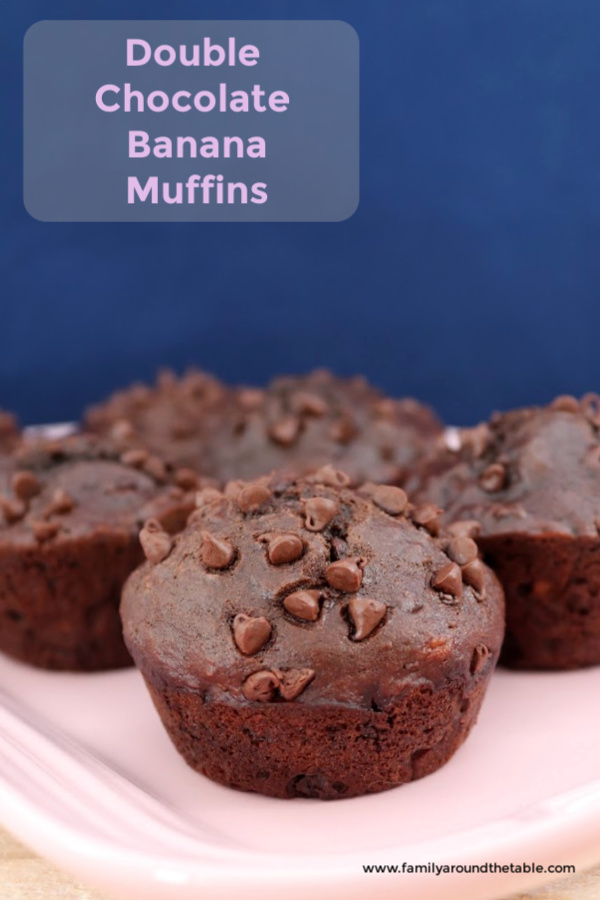 Double Chocolate Banana Muffins Pin Image