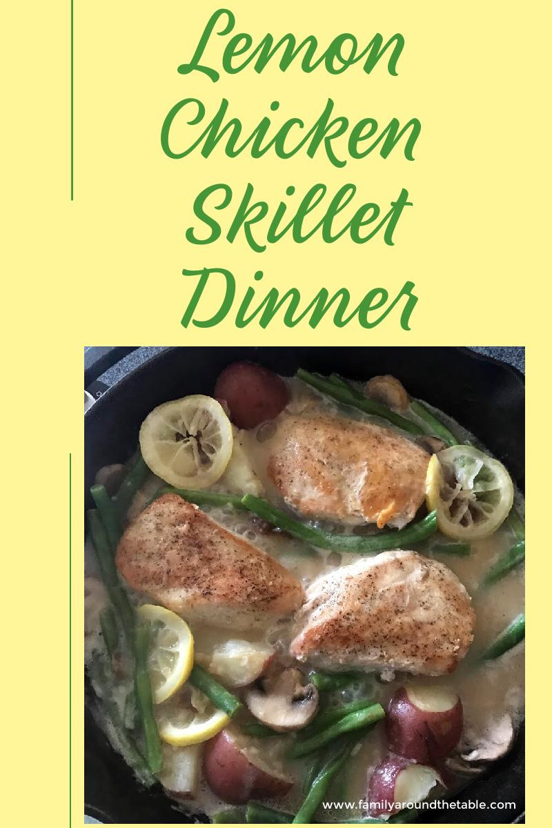 Lemon Skillet Chicken Dinner PInterest image.