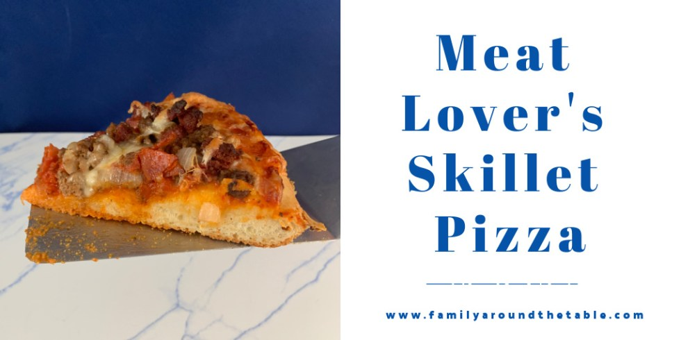 Meat lover's skillet pizza Twitter image.