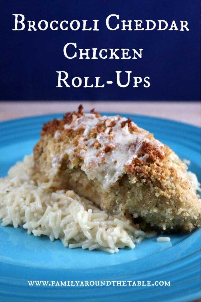 Broccoli Cheddar chicken roll-ups Pinterest image.