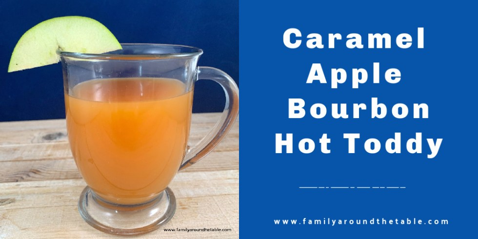 Caramel apple bourbon hot toddy Twitter image.