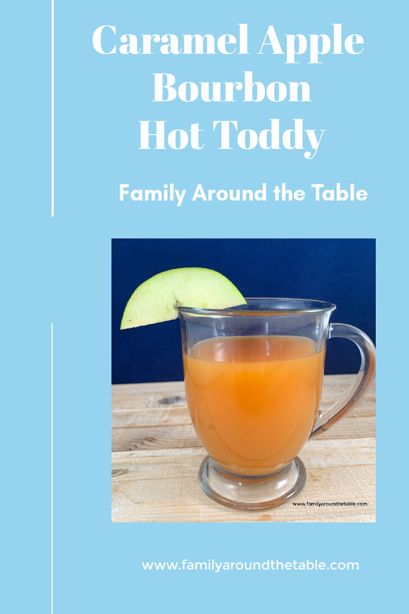 Caramel apple bourbon hot toddy Pin image.
