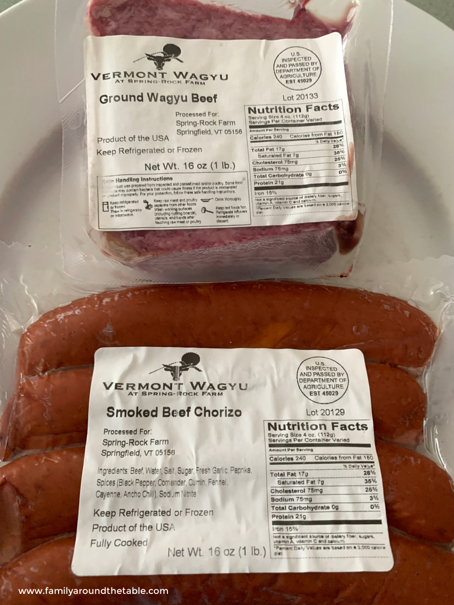 Packages of Vermont Waygu ground beef and chorizo.