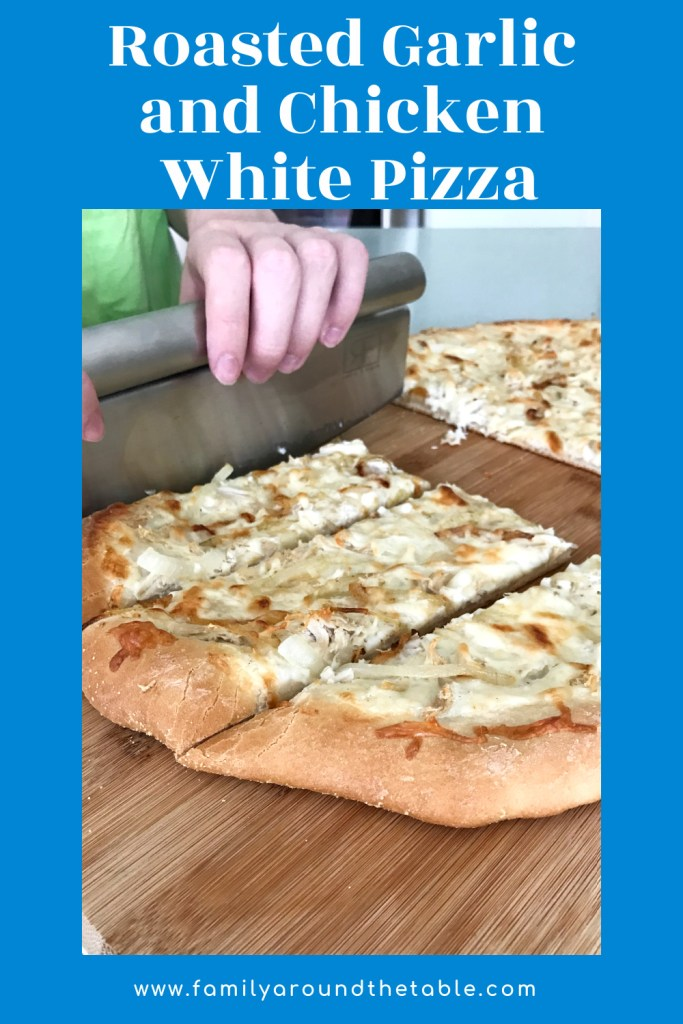 Roasted garlic and chicken white pizza Pinterest image.