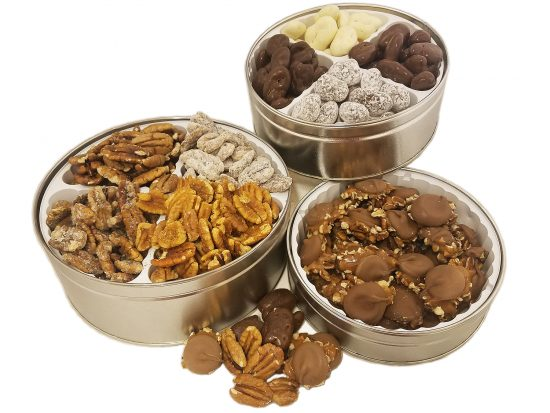 Assorted Pecan goodies in a tin.