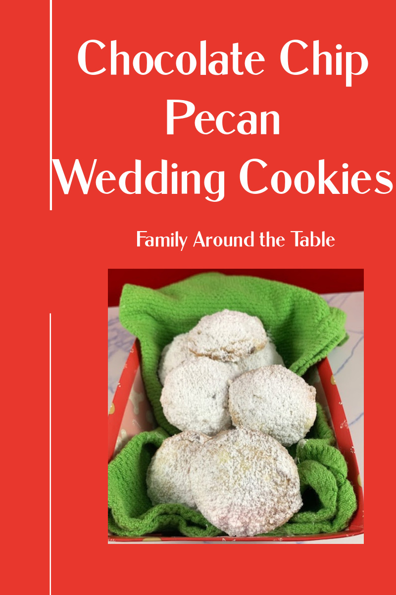 Chocolate chip pecan wedding cookies Pinterest image.